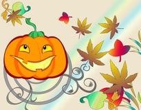 Autumn halloween colored stylish illustration. With pumpkin stock illustration