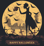 Autumn Halloween illustration with vampire, cat and flying bats Stock Images