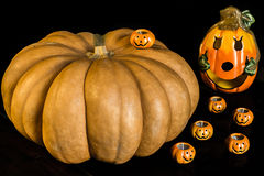 Autumn halloween pumpkins Stock Photos