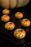 Autumn halloween pumpkins Stock Images