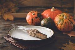 Autumn Halloween or thanksgiving day table setting. Thanksgiving stock photos