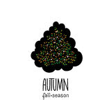 Autumn hand drawn background. Colorful leaves clip art, isolated on white Stock Photo