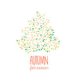 Autumn hand drawn background. Colorful leaves clip art, isolated on white. Bright design element for postcard, greeting card, banner or print advertising Stock Photo