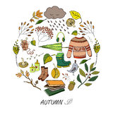 Autumn hand drawn elements. Vector handdrawn autumn elements made in circle. Vector illustration Stock Illustration