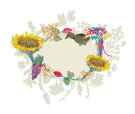 Autumn hand-drawn frame with flowers Royalty Free Stock Photo