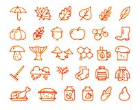 Autumn 30 hand drawn icons drawn with a felt-tip pen. Autumn 30 hand drawn icons drawn with a orange felt-tip pen