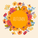 Autumn. Hand drawn illustration with gerberas and herbs Royalty Free Stock Photo