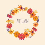 Autumn. Hand drawn illustration with wreath of gerberas. Vector floral background with beautiful flowers Royalty Free Stock Photography