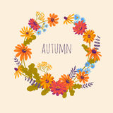 Autumn. Hand drawn illustration with wreath of gerberas. Vector floral background with beautiful flowers Stock Photo