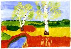 Autumn - hand drawn kid's illustration stock photos