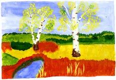 Autumn - hand drawn kid's illustration. Autumn forest - hand drawn kid's water-color illustration, for your design, postcard, album, cover, scrapbook etc Stock Photos