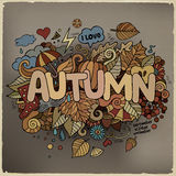 Autumn hand lettering and doodles elements Royalty Free Stock Image