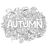 Autumn hand lettering and doodles elements Stock Image