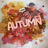 Autumn hand lettering and doodles elements Royalty Free Stock Photo