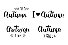 Autumn handlettering set. Autumn logos and emblems for invitation, greeting card, t-shirt, prints and posters. Hand drawn autumn inspiration phrase. Vector stock illustration