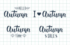 Autumn handwritten set. Autumn logos and emblems for invitation, greeting card, t-shirt, prints and posters.  Royalty Free Stock Images