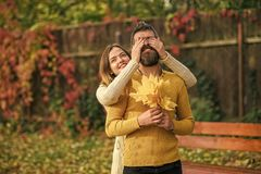 Autumn happy couple of girl and man outdoor. Love relationship and romance. Couple in love in autumn park. Nature season stock images