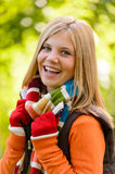Autumn happy girl smiling teenager colorful scarf. Autumn happy girl fall smiling teenager colorful scarf Royalty Free Stock Image
