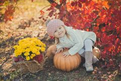 Autumn happy little girl has fun playing with fallen golden leaves Stock Images