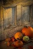 Autumn harvest. Pumpkins, broom and gourds at the door ready for halloween Royalty Free Stock Photo