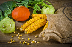 Autumn harvest. Background with fruit and vegetables Stock Photo
