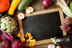 Autumn harvest around a blank vintage slate Stock Photo