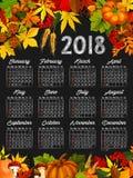 Autumn harvest calendar chalkboard template design Royalty Free Stock Images