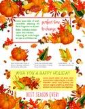 Autumn harvest celebration, Thanksgiving poster Stock Photos