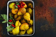 Autumn harvest concept. Fall ripe pears on grunge background Stock Images