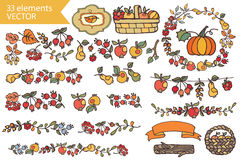 Autumn Harvest.Doodle fruits,berries,decor set Stock Photos