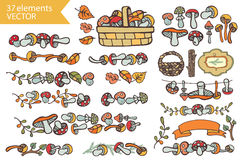 Autumn Harvest.Doodle mushrooms,decor set Stock Image