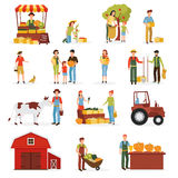 Autumn Harvest Farm Flat Icons Collection Royalty Free Stock Images