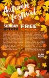 Autumn harvest festival banner of fall season. Autumn harvest festival banner template. Fall season leaf on wooden background with orange pumpkin vegetable Stock Photo