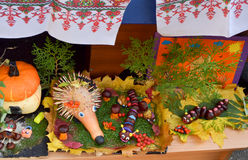 Autumn harvest festival. Exhibition of children`s hand-made articles on a harvest festival at kindergarten. Ukraine royalty free stock photo