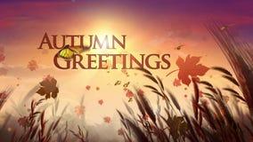 Autumn Harvest Field feliz com borboletas ilustração stock