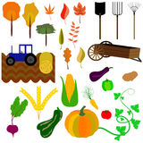 Autumn harvest, field work and yellowing leaves on the trees. Instruments for the autumn harvest, equipment for pressing straw and vegetables Stock Photo