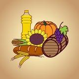 Autumn harvest food set Stock Photos