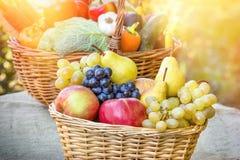 Autumn harvest - fresh organic fruit and vegetable stock photos