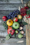 Autumn harvest fruits. On the table Royalty Free Stock Images