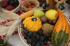 Autumn harvest of fruits and vegetables. Royalty Free Stock Image