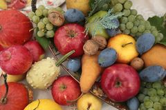 Autumn harvest of fruits and vegetables. Royalty Free Stock Photography