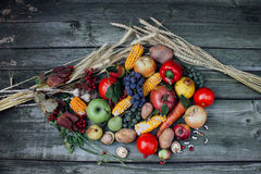 Autumn harvest fruits and vegetables. On the table Stock Image