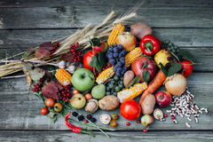 Autumn harvest fruits and vegetables. On the table Stock Photo