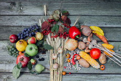 Autumn harvest fruits and vegetables Stock Photo