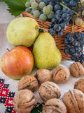 Autumn harvest  of grapes walnuts pears and apples on a traditional towel Royalty Free Stock Photography