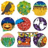 Autumn, harvest, Halloween. Nine round vector mini-illustrations stock illustration