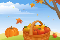 Autumn harvest. Illustration of ripe apples, pears and pumpkin Stock Photography
