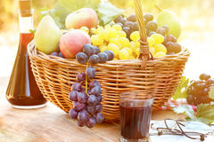 Autumn Harvest In Wicker Basket And Red Wine Stock Images
