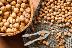 Autumn harvest of nuts in wicker baskets Royalty Free Stock Photography