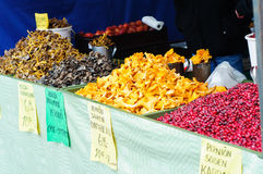 Autumn harvest products on sale Stock Image